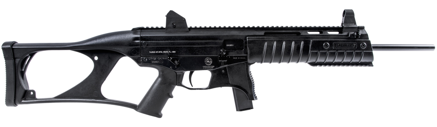The picture shows a black, fixed stock Taurus CTG240 carbine rifle.