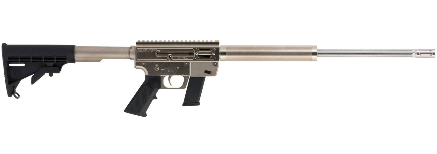 Picture shows an AR-15 style rifle with shiny silver finished barrel and black matte buttstock.