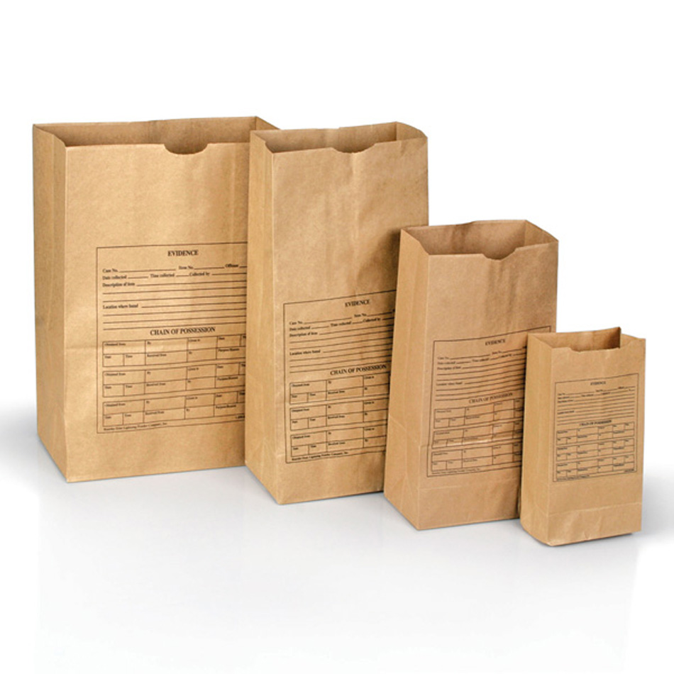 Picture shows four different sized brown paper evidence bags.