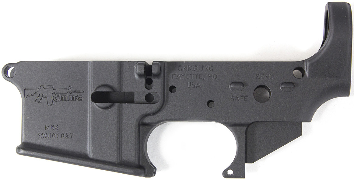 Stripped lower receiver (the firing part) of an AR-15.