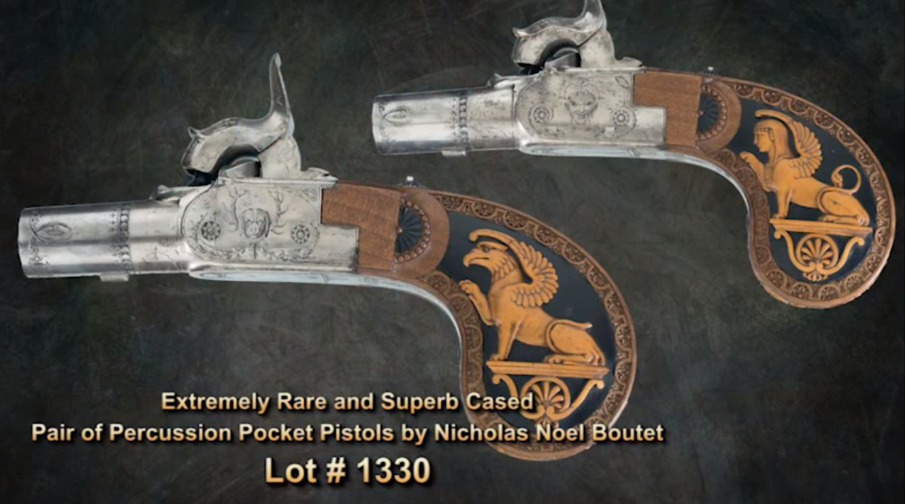 Two Percussion pocket pistols by Nicolas Noel Boutet