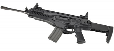 Black Beretta ARX 100, barrel pointed left on a white background