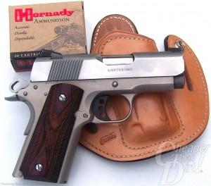 Lightweight Aluminum Framed Handgun with a holster and Hornaday ammunition