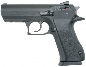 Black Baby Desert Eagle, barrel to the left on white background with focus on the safety