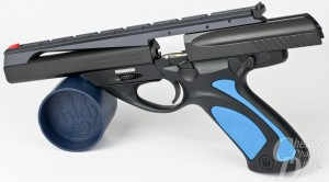 Beretta U22 NEOS with blue grips, slide open, left side view