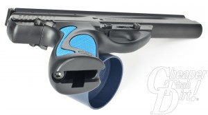 Beretta U22 NEOS with blue grips and magazine well
