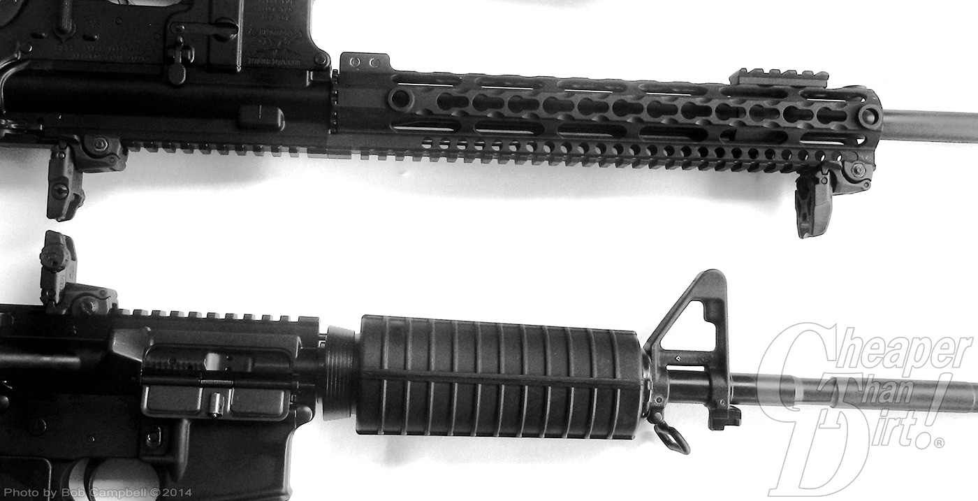 Two black forends for an AR-15
