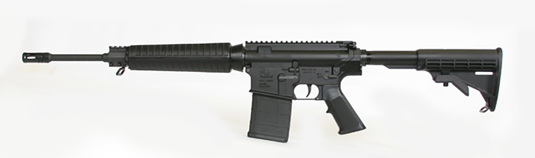 Picture shows a black AR-15 rifle.