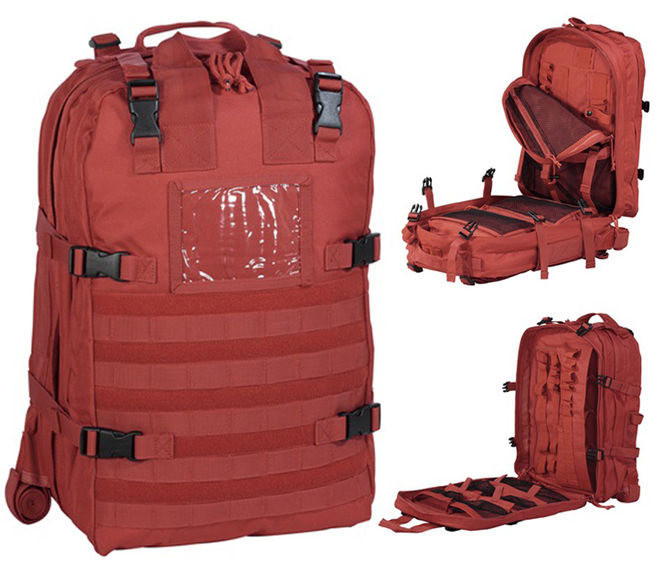Picture shows a bright red large backpack