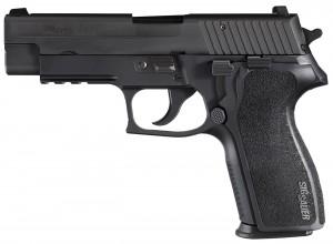 Black SIG P227 barrel pointed left on white background