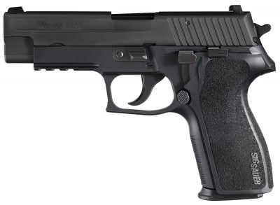 Black SIG P227 barrel pointed left on white background