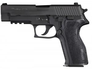 Black SIG P226 9mm barrel pointed left on white background