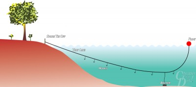 Picture shows a drawing of a fishing trotline.