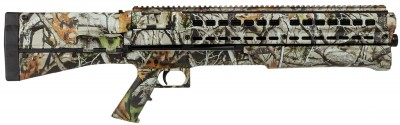 Picture shows a bullpup design pump action shotgun in Next G1 camo.