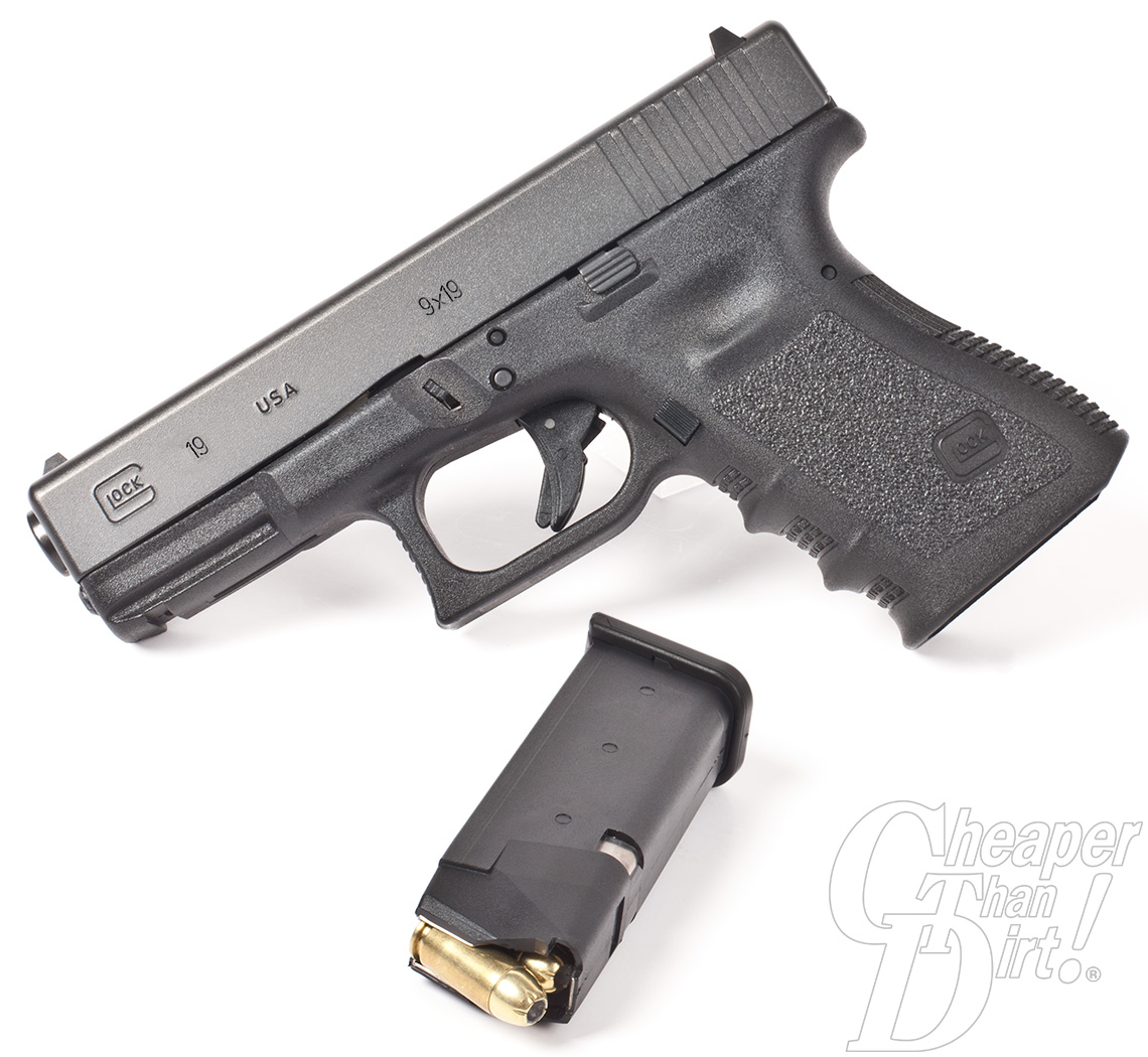 Glock 19 with magazine beside it