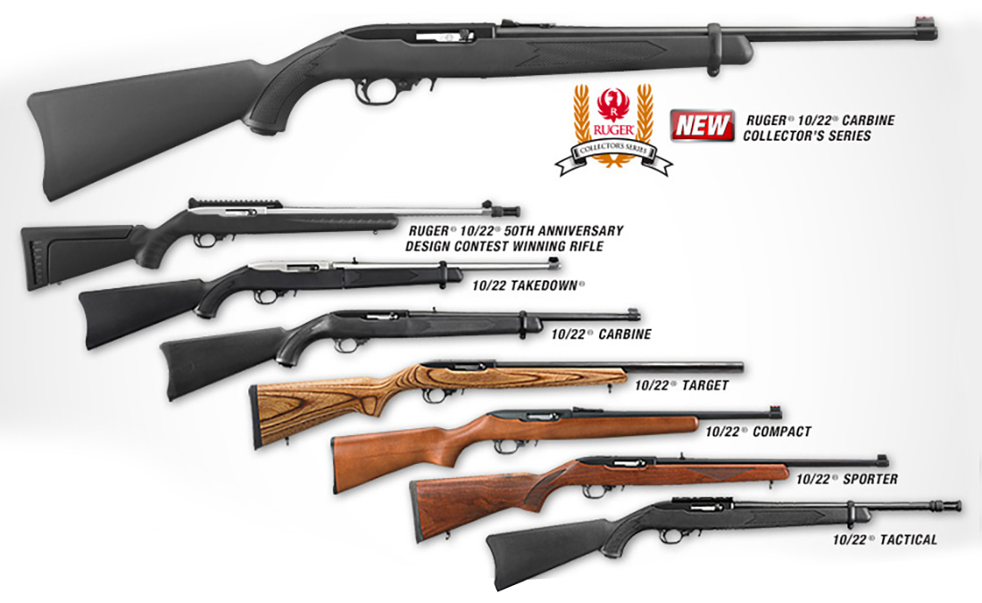 Picture shows 8 different models of Ruger 10/22 rifles in current production.