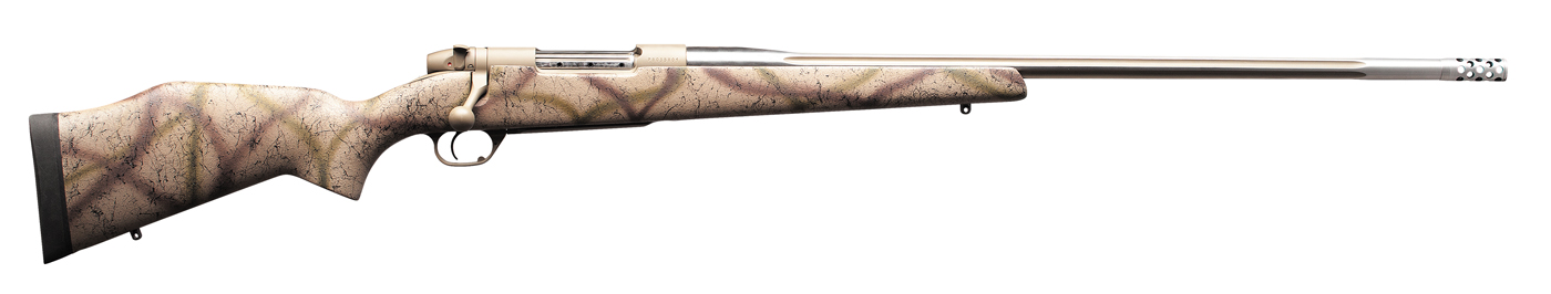 Picture shows a bolt-action rifle from Weatherby finished in a brown camo.
