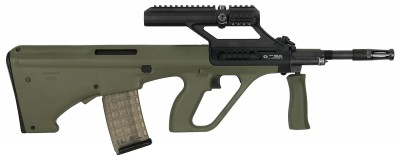 green bullpup rifle with integrated sight