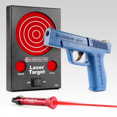 LaserLyte Bullsueye kit with blue gun and laser