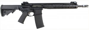 Black AR-15 rifle with Geissele Automatics Super Tricon 2-stage trigger and the 14.5-inch spiral fluted barrel