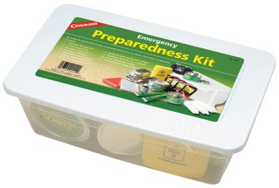 Clear plastic tote filled with emergency supplies.