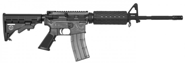 Black .22 Long Rifle tactical-style rifle made by Bushmaster