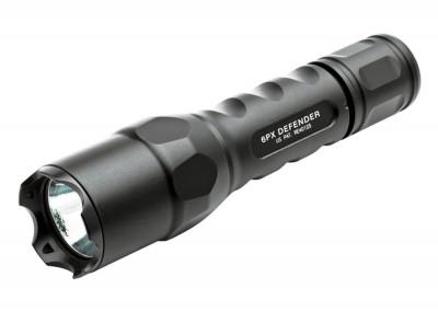 Black, Surefire flashlight with strike bezel.