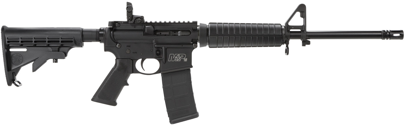 Black AR-15 rifle by Smith and Wesson, the M&P 15 Sport model with Magpul folding rear and A2 front sight post