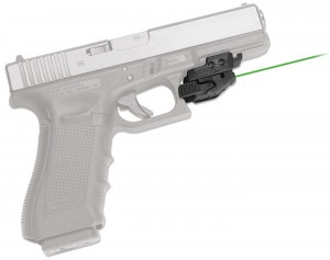 Universal rail green laser mounted to a GLOCK.