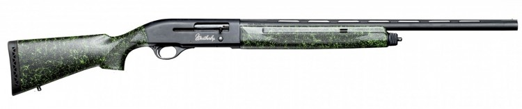 Synthetic stock Weatherby SA-08 semiautomatic shotgun with green spider web detail