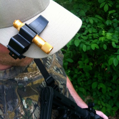 B Lit Light Mount attached to a hat