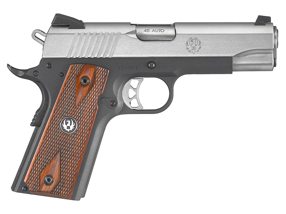 Toned black and stainless with wood checkered grips ruger compact 1911