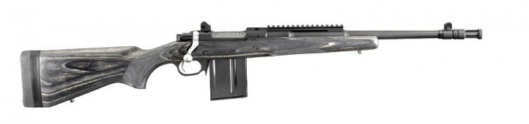 Gray Ruger Gunsite bolt-action rifle chambered for 5.56mm NATO