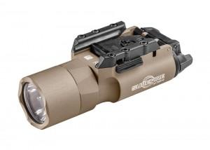 Desert tan X300 Ultra handgun and long gun weapon light by SureFire.