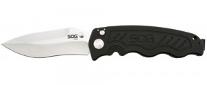 SOG Knives folding knife with plain drop point blade with matte stainless finish and black handle