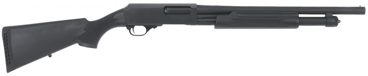 Black synthetic pump-action shotgun called the H&R Pardner Protector