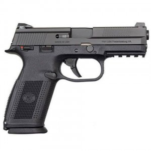 Black 9mm semiautomatic handgun made by FNH.