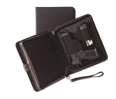 Black leather case with elastic holster inside