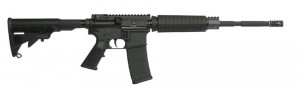 Black ArmaLite Defender AR-15 rifle