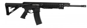 Black AR-15 rifle with gas piston system made by Barrett.