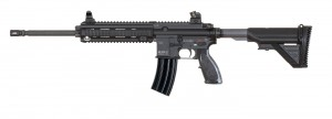 Black H&K 556A1 AR-15 rifle with proprietary gas piston system