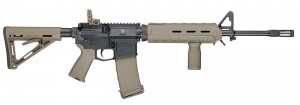 Smith & Wesson M&P 15 AR-15 rifle with adjustable Magpul FDE stock, pistol grip and vertical grip
