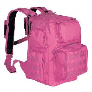 Pink backpack with MOLLE webbing and padded shoulder straps