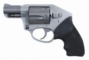 .38 Special revolver with alloy steel frame and black rubber grips