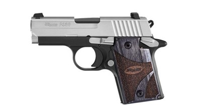 SIG P938 subcompact 9mm semiautomatic handgun with steel slide, black grip frame and wood grips
