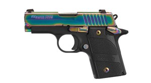 SIG P938 with rainbow slide finish and black grip frame and grips