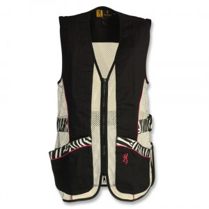 Black shotgun shooting vest with mesh side panels, pink and zebra-print trim