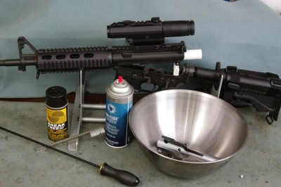 A stainless-steel salad bowl works very well for cleaning and lubricating AR-15 parts.