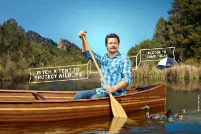 Parks & Recreation star, Nick Offerman paddling a canoe