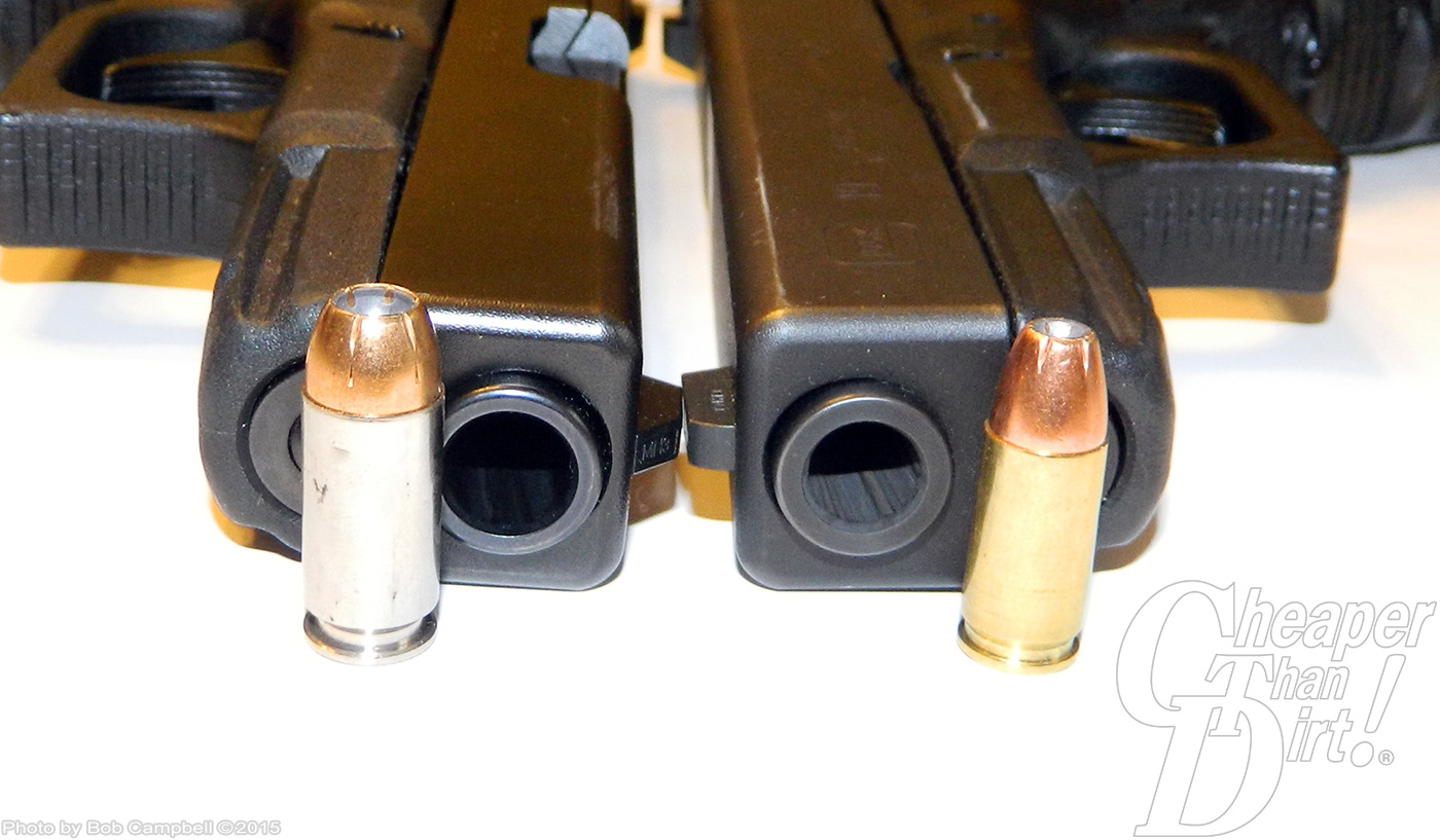 The 9mm Luger and .40 caliber Smith & Wesson cartridges compared. The .40 kicks and hits harder.